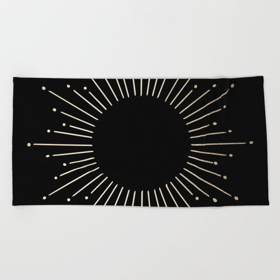 Sunburst White Gold Sands on Black Beach Towel