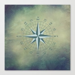 Compass Graphic on Grey Textured background Canvas Print