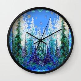 Western  Blue Modern Art Mountain Blue Winter Trees  Art Wall Clock