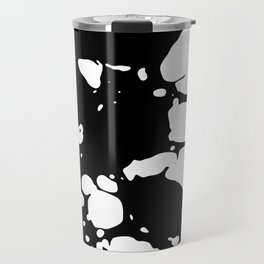 Black and white contrast ink spilled paint mess Travel Mug