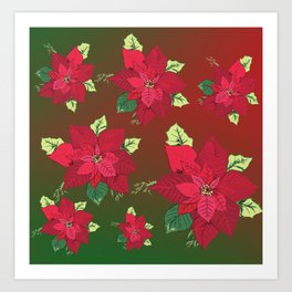 Poinsettia Christmas Flower Art Print
