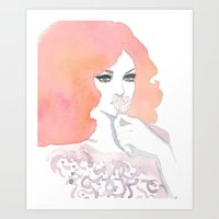 fashion illustration Art Prints featuring fashion illustration by Yulia Puchko