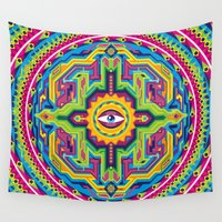 native american Wall Tapestries featuring Native American Eye by Roberlan Borges