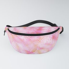 Pink Flamingo Feather Pattern Fanny Pack