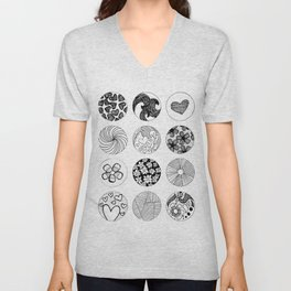 Lines, Flowers, & Hearts Oh My Unisex V-Neck