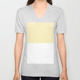 White and Blond Yellow Horizontal Halves Unisex V-Neck