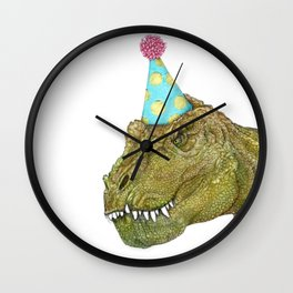 Party Dinosaur in Color Wall Clock