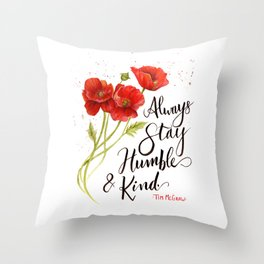 Stay Humble and Kind California Poppies Watercolor Throw Pillow