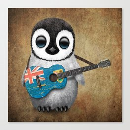 Baby Penguin Playing Turks and Caicos Flag Guitar Canvas Print
