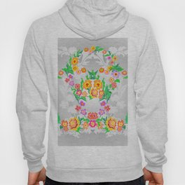 Wreaths from abstract flowers on floral background Hoody