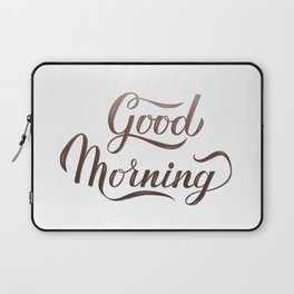 Good Morning calligraphy lettering hand written with brush. Inspirational quote. Laptop Sleeve