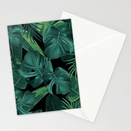 Tropical Summer Night Jungle Leaves Dream #1 #tropical #decor #art #society6 Stationery Cards