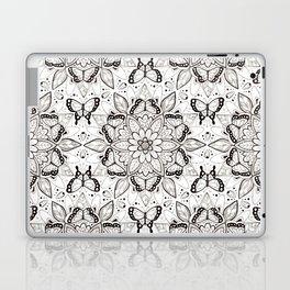 Butterfly Mandala - black and white Laptop & iPad Skin