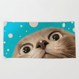 """Fun Kitty and Polka dots"" Beach Towel"
