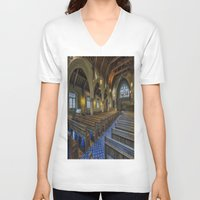 christ V-neck T-shirts featuring Christ Church by Ian Mitchell
