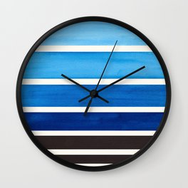 Prussian Blue Mid Century Modern Minimalist Circle Round Photo Staggered Sunset Geometric Stripe Des Wall Clock