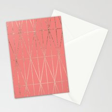 Modern geometric triangles faux rose gold coral pattern Stationery Cards