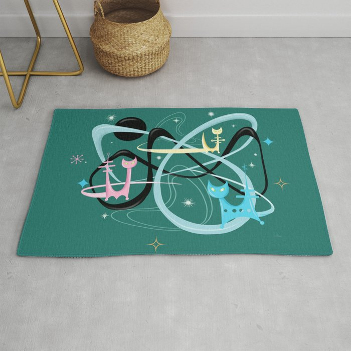 Atomic Rocket Cats In Space Rug