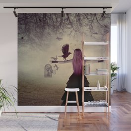 Dark foggy scene with witch woman with crows Wall Mural