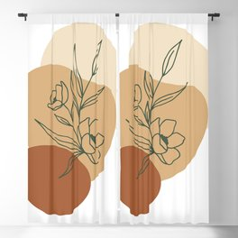 Abstract minimal floral Graphic Collection Blackout Curtain
