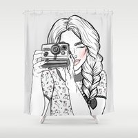 polaroid Shower Curtains featuring Polaroid Camera  by Hungry Designs