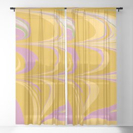 Colorful Abstract Marble in Lilac and Yellow Sheer Curtain