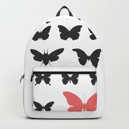 black red butterflies, cicada silhouette Backpack