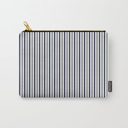 Navy White And Grey Vertical Stripes Carry-All Pouch