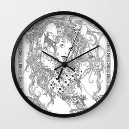 pose of spring Wall Clock