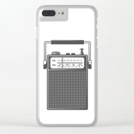 Retro portable radio. Monochrome vintage style illustration Clear iPhone Case