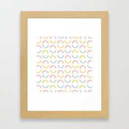 Pastel pink coral blue yellow abstract geometrical circles Framed Art Print