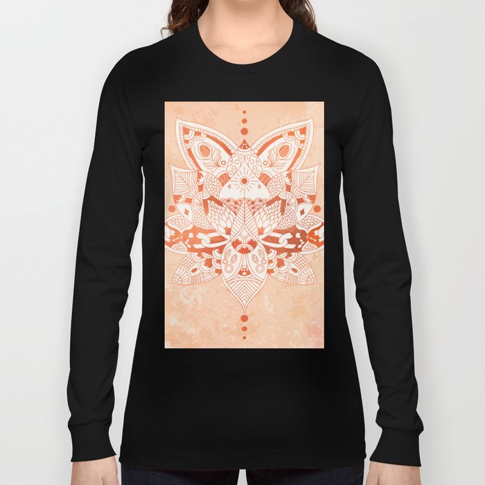 Happiness Mandala Metallic Rose Gold Beige Long Sleeve T-shirt