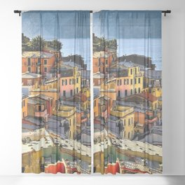 Cinque Terre Vernazza Village Mediterranean Coast, Italy 2 Sheer Curtain