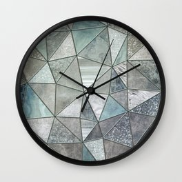 Teal And Grey Triangles Stained Glass Style Wall Clock