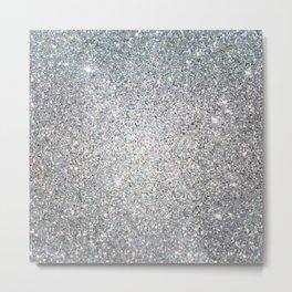 Diamond White Sparkling Jewels Pattern Metal Print