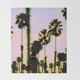 California Dreaming Palm Trees Sunset Throw Blanket