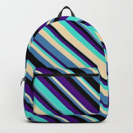 Indigo, Turquoise, Tan, Blue & Black Colored Lined Pattern Backpack