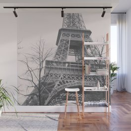 Eiffel tower, Paris, black & white photo, b&w fine art, tour, city, landscape photography, France Wall Mural