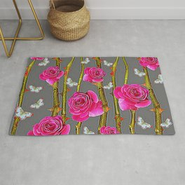 WHITE BUTTERFLIES & PINK ROSE THORN CANES  GREY ART Rug