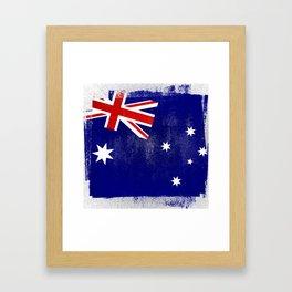 Australian Distressed Halftone Denim Flag Framed Art Print