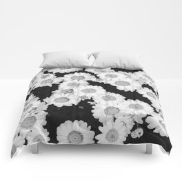 The Daisy Garden (Black and White) Comforters