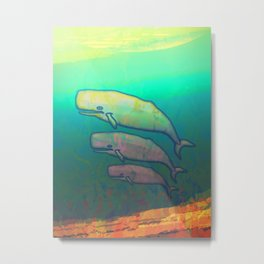 Whales Swimming Together Metal Print