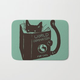 World Domination for Cats (Green) Bath Mat