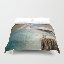 Perched Pelican Duvet Cover