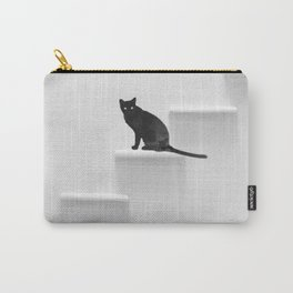 Black cat on steps Carry-All Pouch