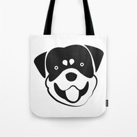 rottweiler Tote Bags featuring Rottweiler by anabelledubois