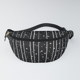Abstract black and white pattern, dots and stripes vertical Fanny Pack