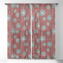 Wild Flowers On Red Spring Summer Floral Pattern Sheer Curtain