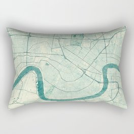 New Orleans Map Blue Vintage Rectangular Pillow