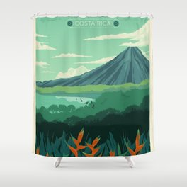 Vintage Poster, Arenal Costa Rica Shower Curtain